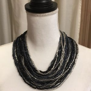Jewelry - MULTI STRANDED BEADED BLACK AND GRAY NECKLACE NWOT